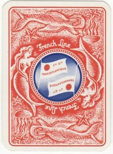 Playing-Cards-1-Single-Card-Old-Wide-FRENCH-LINE-Shipping-Advertising-MERMAIDS-1