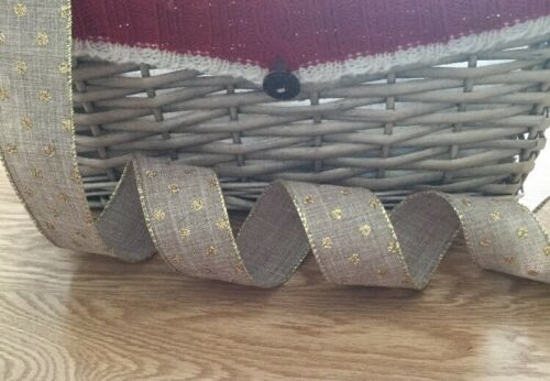 """Cakes Craft Wired Ribbon ~ Glittery Gold Spotted ~ 3.8cm//1.5"""" Wide ~ Christmas"""