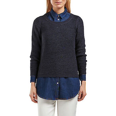 NEW ONLY Geena Long Sleeve Pullover Knit Navy