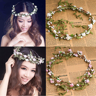 Wedding Bridesmaid Floral Flower Festival Forehead Headband Hair Garland IDXX