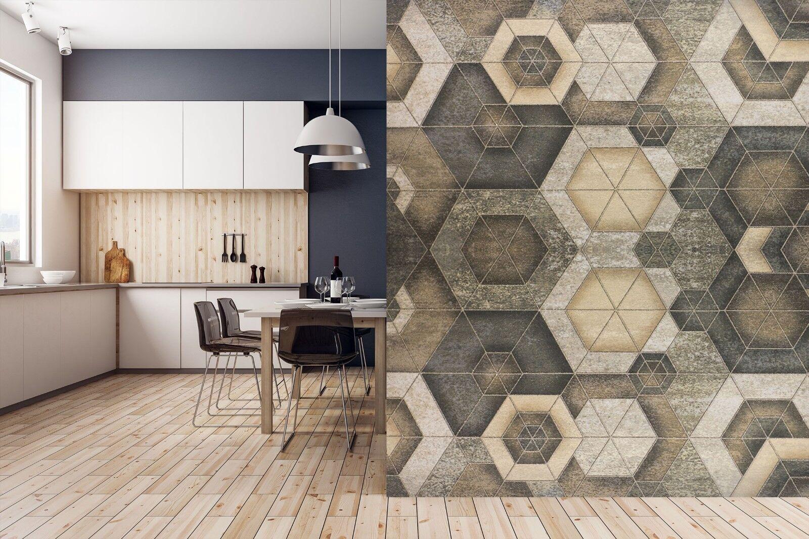3D Hexagonal Wood 6342 Texture Tiles Marble Wall Paper Decal Wallpaper Mural