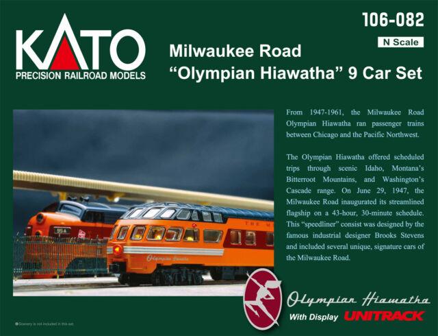 "KATO 106082 N MILWAUKEE ROAD ""Olympian Hiawatha"" 9 Car Set w/Unitrack 106-082"