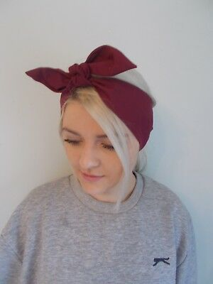 HEAD SCARF HAIR BAND burgundy red wine BOW  NECK ROCKABILLY SWING PIN UP 50s