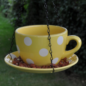 Hanging Ceramic Yellow Polka Dot Garden Teacup /& Saucer Bird Seed Feeder Station