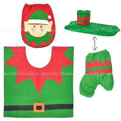 Christmas Novelty Toilet Green Elf Decoration Set