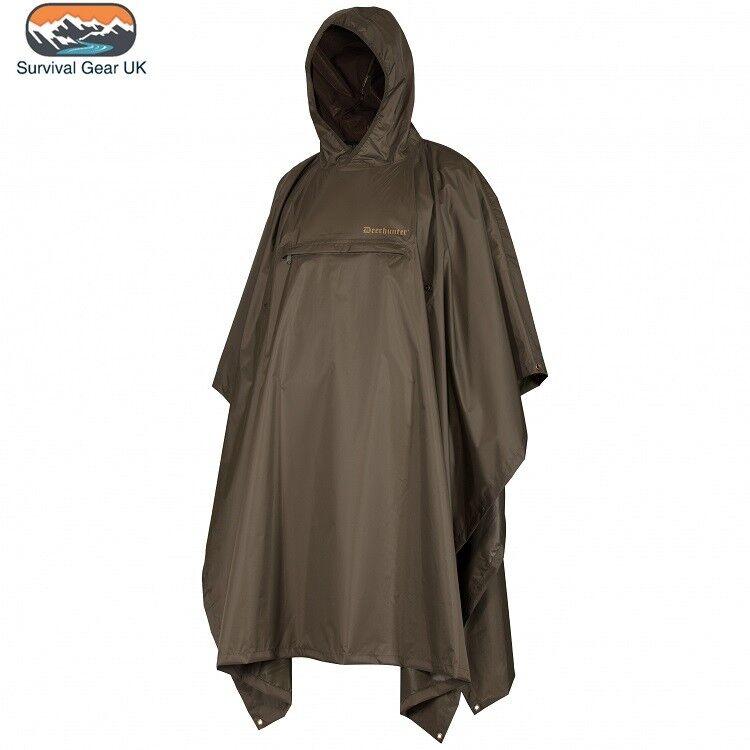 Deerhunter Deer-Tex® Survivor Rain Poncho Lightweight 100% Waterproof Breathable