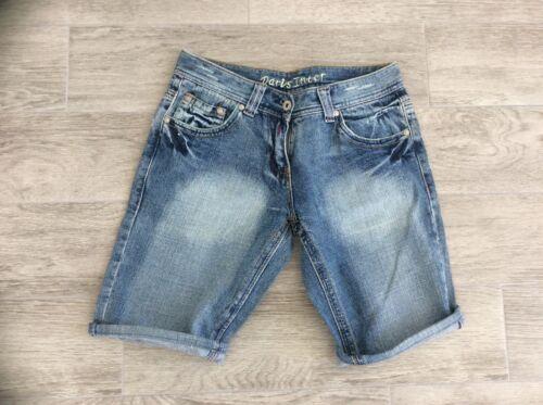 Ladies daris Azzurro Sbiadito Pantaloncini di Jeans con Suttle strappi sul retro Taglia 8