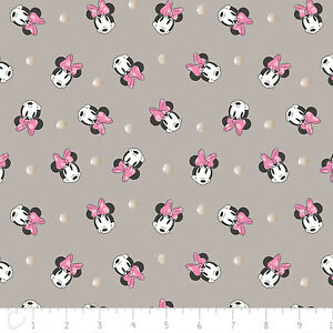 Disney-Minnie-Face-Dot-in-Grey-Metallic-Camelot-100-cotton-fabric-by-the-yard