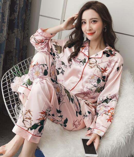 Women' s Silk Pajama Floral Lapel Long Sleeves Tops Pants Sleepwear Sets