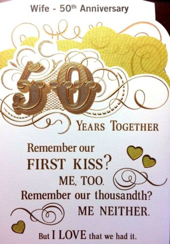 64A WIFE 50TH GOLDEN HAPPY ANNIVERSARY CARD 50 YEARS  Choice 6 by HALLMARK