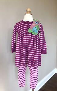 Hanna Andersson Basic 2 Piece Pink Purple Striped Dress Leggings Set