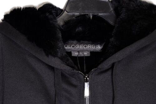 L size large Jacket lt; Black 818856020659 Pologeorgis Zip Rabbit Hoodie Zoe Fur Lined gt;new ZTn8Hzxq