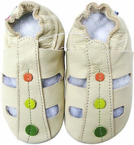 carozoo sandals light blue 6-12m soft sole leather baby shoes