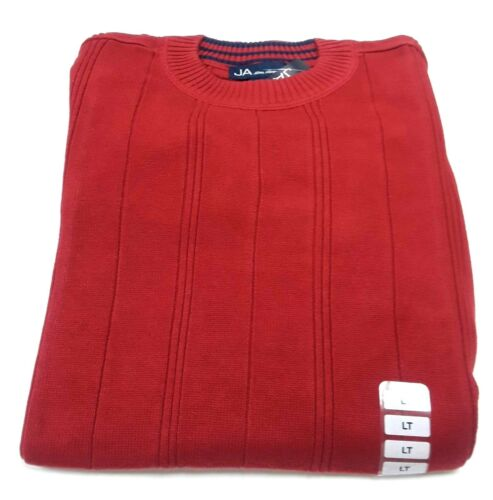 John Ashford Red 100/% Cotton Ribbed Pullover Crew-Neck Sweater 3XLT Big /& Tall