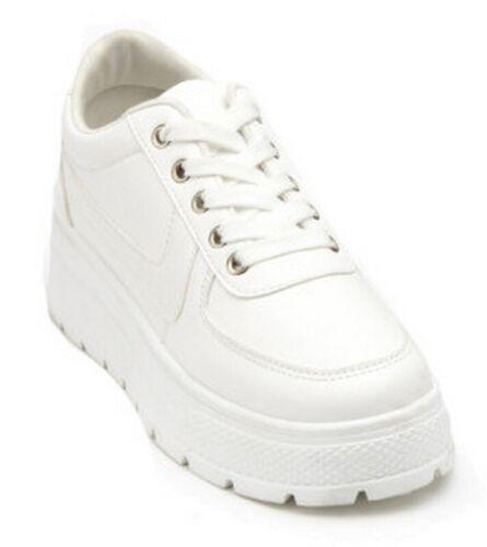 Señoras Mujeres Tacón Interno Cuña Zapatillas Con Cordones Botas al Tobillo Zapatos Talla 3-8