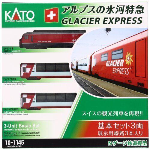 New KATO 10-1145 Alps Glacier Express Basic 3-Car Set Model Train