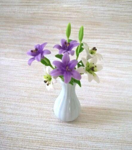 White  Purple Lily Clay Flower Vase Dollhouse Miniatures Ceramic Tableware Room