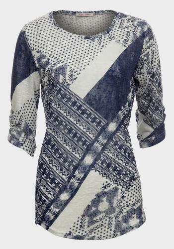 Women/'s lovely à manches 3//4 col rond gris bleu Imprimer Haut Chemisier Taille 8 10 12 14
