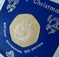2013 Isle of Man Christmas Xmas Card Keepsake 50p Coin (BU) Gift in Display Case
