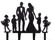 Family Bride Groom 2 Boys 2 Girls Acrylic Wedding Cake Topper Decoration 3pc Set