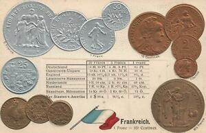 VINTAGE-FRANCE-FLAG-amp-COINS-EMBOSSED-POSTCARD-COPPER-GOLD-amp-SILVER-UNUSED