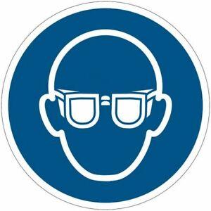 """Cartelli di obbligo ISO 7010 """"Occhiali protettivi obbligatori"""" M004"""