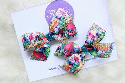 "5"" Handmade Trolls Poppy Stacked Boutique Hair Bow Rainbow Pastel Trolls Bow"
