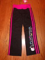 Girls Hello Kitty Sweatpants Sweats Pants Pink Black Striped Glitter Size 6