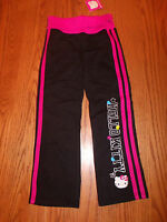 Girls Hello Kitty Sweatpants Sweats Pants Pink Black Striped Glitter Size 6