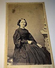 Antique Civil War Era Victorian American Fashion Dress Lady! Chicago CDV Photo!