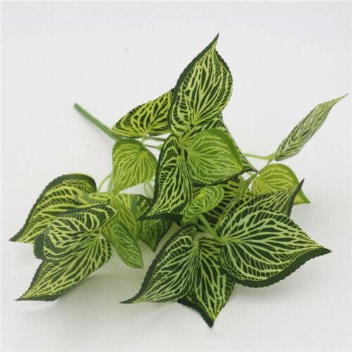 Artificial Green Plants Fake Leaf Bush Foliage Flower Garden Office Home Decor