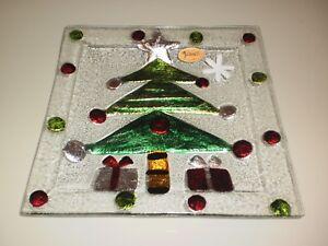 RIKARO-HAND-MADE-ART-GLASS-CHRISTMAS-TREE-SQUARE-PLATE