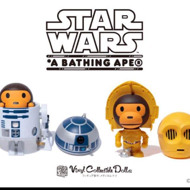A BATHING APE x Estrella Guerras Medicom giocattolo giocattolo giocattolo bambino MILO VCD C3PO R2D2 Sets nuovo JAPAN 21d251
