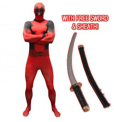 Mens Deadpool Morphsuit & FREE SWORD Marvel Fancy Dress Costume Cosplay X-Men