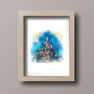 Watercolour-Disneyland-Paris-Scene-Castle-Home-Print-Gift-Wall-Art-A4-Unframed