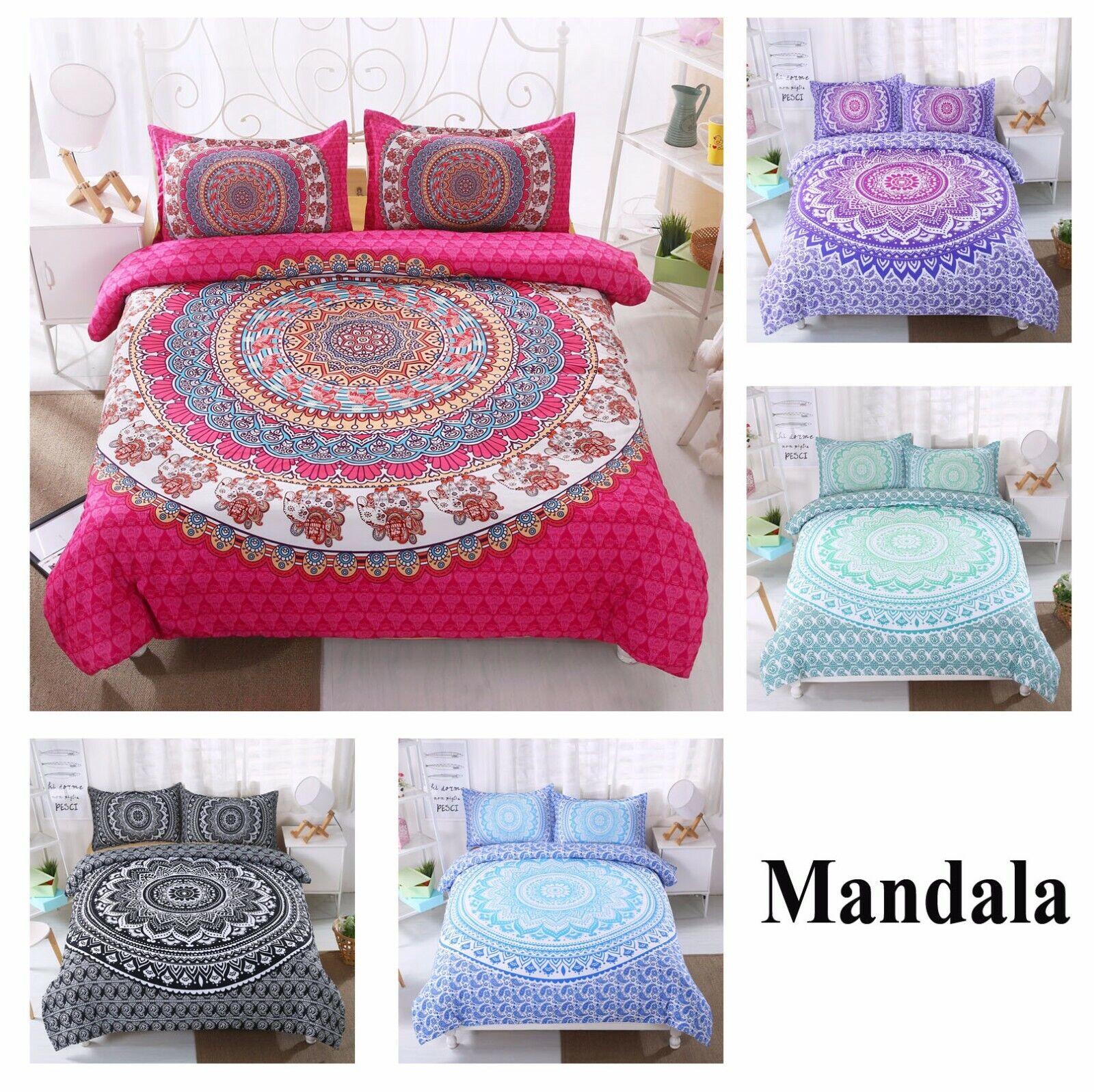 Bohemian Mandala Circles Flower Elephant Bettding Set Duvet Startseite+Pillow Case