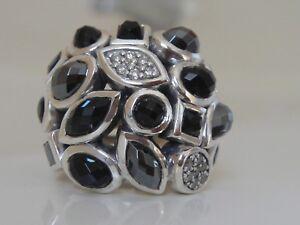 $1425 David Yurman Argent Sterling Confettis Noir Onyx, Hématite Bague Diamant-afficher Le Titre D'origine