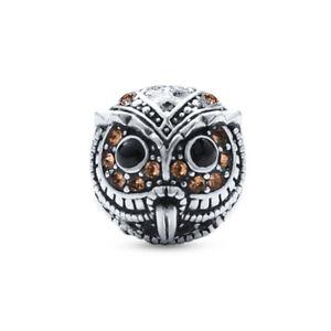Karma-Owl-Bead-Charm-925-Silver-plated-with-CZ-fits-european-charm-bracelets