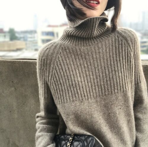 Women Cashmere Sweater Turtleneck Knitting Pullovers Solid Warm Female Sweater
