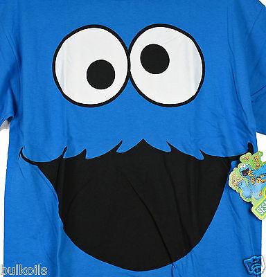 NWT Lg Sesame Street Cookie Monster Full Face Men's T-Shirt - Blue Tee