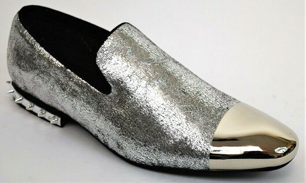 Men's Dress Casual shoes Silver Slip On Loafers Silver Metal Toe Spiked Heel