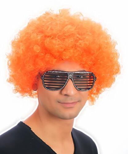 Mens//Ladies NEW Orange Afro 70s Valued Funky Disco Clown Wig Fancy Dress Costume