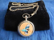 MAGPIE (BIRD) CHROME POCKET WATCH WITH CHAIN (NEW)