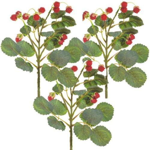 x3 Fake Fruit Flower Stem Spring Summer Plant Artificial Raspberry Spray