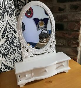 Painted-Wood-Dressing-Table-Cheval-Oval-Mirror-Shabby-Chic