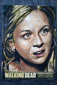 Walking-Dead-Season-3-Beth-Greene-Acrylic-Sketch-Art-Lee-Lightfoot-Trading-Card
