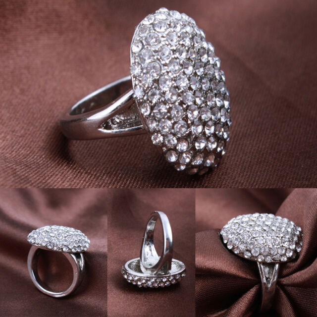 New Women's Wedding Rings  Engagement Ring Silver Crystal Jewelry Size 6-10