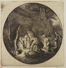 ADRIAEN VAN OSTADE RADIERUNG 1642 DAS SCHWEINESCHLACHTEN PIG KILLERS ETCHING I25