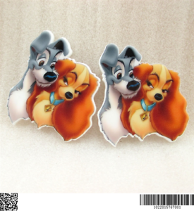 2 x 40mm LADY AND THE TRAMP LASER CUT FLAT BACK RESIN HEADBANDS HAIR BOWS