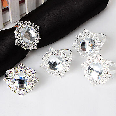 Silver Diamond Napkin Ring Serviette Holder Wedding Banquet Dinner Decor 12 Pcs